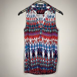 Market & Spruce Abstract Multicolor Rayon Tank Top